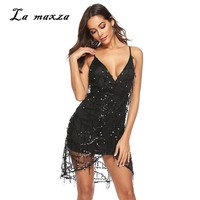 Plus Size Dress Women Summer Dress Sexy Club Party Night Beach Bodycon Sequines Mini Dress