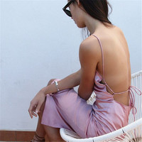Spaghetti Strap Backless Split One Piece Dress [9753216143]
