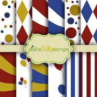 Circus - Patterned Bright Printable Backgrounds - Carnival Vol3  - 12 Digital Printable Scrapbook Papers - 8.5x11inch - INSTANT DOWNLOAD