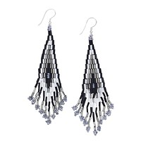 Black and White Bead Dangling Earrings