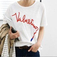 VALENTINO Summer Popular Casual Letter Print T-Shirt Top White
