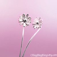 Long Stem Cosmos Flower Earrings, Sterling Silver Dangle Earrings, Small Floral Jewelry For Her