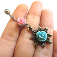 Double Rose Belly Button Jewelry- Pink Mint Green Turquoise Flower Sun Navel Ring Piercing Bar Barbell