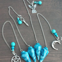 Blue pagan pendulum in lace agate with choice of charm
