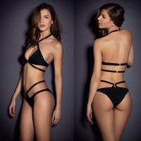 Women Sexy Black Strappy Push up Padded Bikini Swimwear Swimsuit