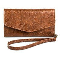 Women's Floral Embossed Cell Phone Case Wallet - Brown