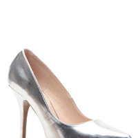 Silver Faux Leather Pointed Toe Pumps