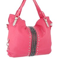 Rhinestone Studded Hobo Bag Decorative Purse Hot Pink