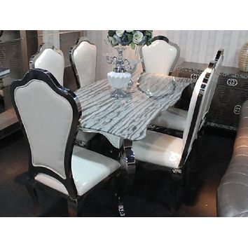 Casual Luxury Rich Look Dining Table Set