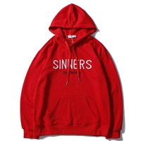 Balenciaga autumn and winter sports and leisure embroidery English letter logo hooded sweater red