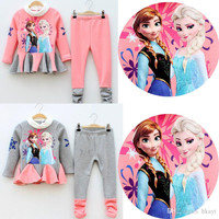 Frozen Girl Clothing Set Thicken Add Wool Dress + Pants 2pcs Children Suit %100 High Quality Cotton Anna Elsa Kids Suits.