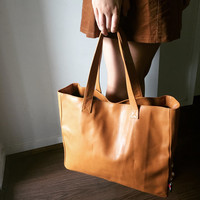 Tan, soft leather tote bag.  Classic,timeless shoulder Bag.Traditional style,handmade  with long,strong shoulder straps and firm base.