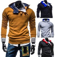 Fashion Add Velvet Hooded Hoodie Fleeces Casual All-matched Coat Jacket Top Outwear for Men Boys -MX8