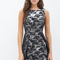 LOVE 21 Abstract Metallic A-Line Dress Black/Charcoal
