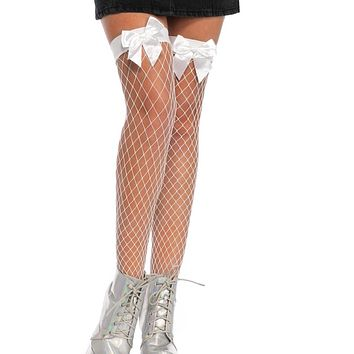 White Fence Net Bow Thigh Highs
