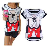 SIMPLE - Summer Minnie Mouse Printed Top T-Shirt a12301