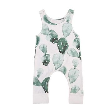 Pudcoco Newborn Infant Baby Girl Boy Cactus Romper Babygrow Sleeveless Summer Clothes Jumpsuit Playsuits