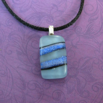 Small Blue Pendant, Striped Blue Dichroic Necklace - Walter - 4438 -3