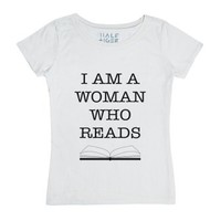 I Am A Woman Who Reads-Unisex White T-Shirt