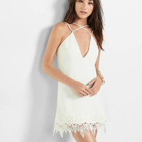 white strappy front lace hem sheath dress