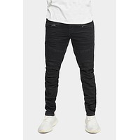 Creased Biker Denim Jeans