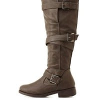 Bamboo Belt-Wrapped Knee-High Boots by Charlotte Russe - Gray