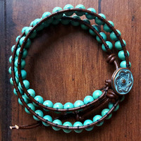 Turquoise Wrap Bracelet || Bohemian Style, Genuine Leather, Beaded Bracelet