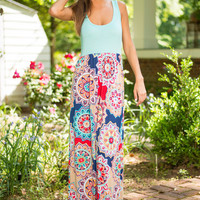Floral Collage Maxi Dress, Navy