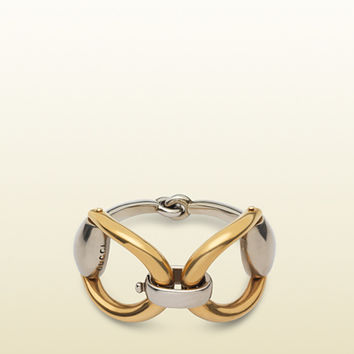 Gucci - horsebit bracelet in aged silver and gold 380961J8H408122
