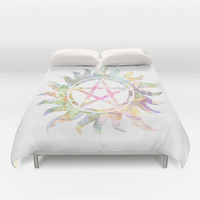 Supernatural watercolours Duvet Cover by Dan Lebrun
