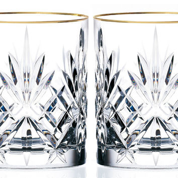 Sienna Collection, Crystal Double Old Fashion Glass with Gold Trim, Set of 4