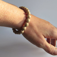 Beige Wood Stretch Bracelet, 8 mm - Wooden jewelry For Him or Her  - Simple Handmade Jewelry