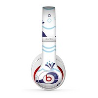The Navy Blue Smiley Whales Skin for the Beats by Dre Studio (2013+ Version) Headphones
