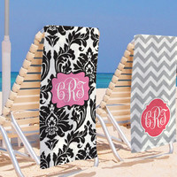 set of 2 Super Absorbent Beach Towel Bridal Party Custom Chevron Monogram Towel Monogrammed Pool Wrap