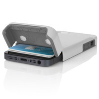 The White / Gray Incipio STASHBACK™ Dockable Credit Card Case for iPhone 5-5s