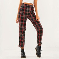 High Waist Cotton Plaid Trousers