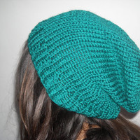 Knit hat,knit beanie,knit slouchy hat,knit slouchy beanie,emerald knit beanie,emerald hat,emerald knitted hat