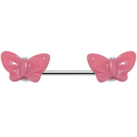 14 Gauge Dainty Pink Butterfly Nipple Ring Barbell | Body Candy Body Jewelry