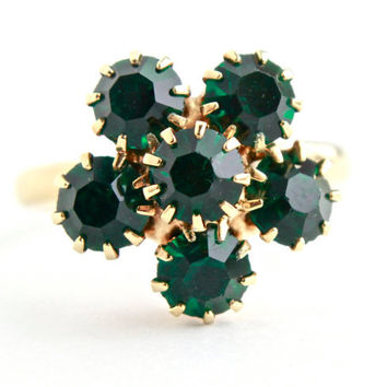 Vintage Green Glass Stone Ring -  Adjustable Gold Tone Costume Jewelry Fashion Accessory / Prong Set Flower Cluster