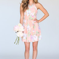 Abby Peach Floral Fit and Flare Halter Dress