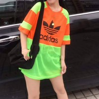 """""""Adidas""""Woman's Leisure  Fashion Letter Printing Spell Color Loose Short Sleeve Tops"""
