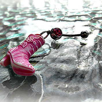 Pink Cowboy Boot Belly Ring, Cowgirl, Country Western Belly Ring, Bohemian, Hipster, Hippie, Gypsy, Beach Wear, Ready to Ship