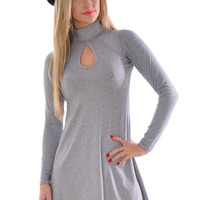 Qing Turtle Polo Neck Swing Skater Dress In Grey
