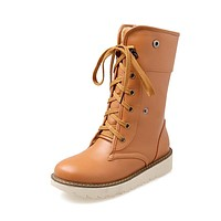 Lace Up Mid Calf Motorcycle Boots for Women 4933