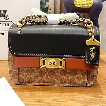 Hipgirls COACH Fashion New Pattern Leather Shopping Leisure Chain Shoulder Bag Crossbody Bag