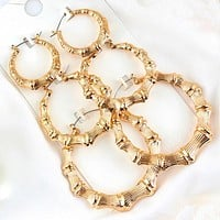 3 piece set of bamboo hoop earrings (gold or silver)