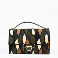 "Salvatore Ferragamo Black Multicolor Leather Patchwork ""Aileen"" Bag"