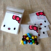 100pcs Small OPP Plastic Hello Kitty Self-adhesive Party Food Packing Bags Cellophane Bags,Cheesecake Biscuit Cookies Candy Bag