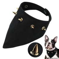 Spiked Dog Bandana Collar Adjustable Pet Puppy Scarf Bib Bandage Small Dogs Cats Collars Neckerchief For Dogs Cats Pitbull Black