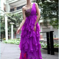 A-Line One Shoulder Chiffon Regency Long Prom Dress/Evening Gowns With Beading VTBU0259720